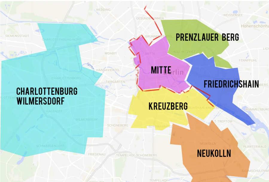 mapa barrios donde alojarse en Berlin